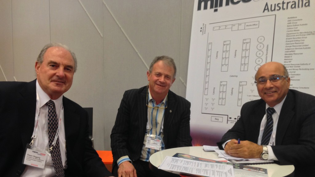 Owen Hegarty, CEEC Patron; Sandy Gray Gekko Systems and Joe Cucuzza AMIRA prepare to address the delegates at Mines and Money Melbourne 2013.